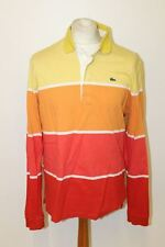 LACOSTE Men's Colourful Striped Long Sleeve Collared Retro Rugby Polo Shirt XL