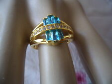 Art Deco Vintage Jewellery Gold Ring Blue Topaz White Sapphires Antique Jewelry