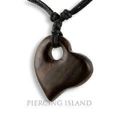 Halskette Herz aus Holz Anhänger Kette längenverstellbar Handarbeit Design N283