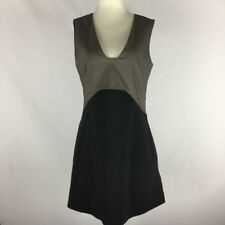 CUE SIZE 10-12 Charcoal & Grey/Brown Sleeveless Stretch A-Line Mini Dress or Top