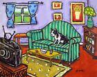 BOSTON TERRIER living room POSTER dog pet art  8x10 matte paper PRINT