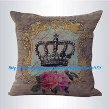 US SELLER- decorative throw pillows on shabby chic crown rose cushion cover