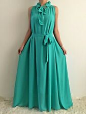 Women's Sleeveless Loose Belted Green Mint Maxi Evening Dress Size 12-14-16-18