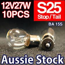 S25 12V 27W Stop / Tail / Brake Light Bulbs Globes BA15S 10PCS Clear Halogen