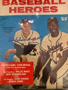 """""""Hank Aaron & Red Schoendienst"""" Hand Signed Baseball Heroes Magazine"""