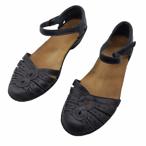 Clarks womens sz 7.5w wide Wendy River navy blue Leather Sandal Ankle Strap