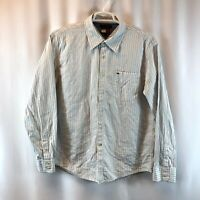 Tommy Hilfiger Long Sleeve Men's Shirt XL White Black Blue Stripes