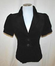 CHIC Black Corduroy Cropped Waist Coat Fitted Bolero Shrug Jacket Blazer S