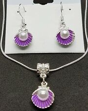 Imitation pearl and purple shell stirling silver necklace and earring set