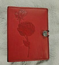 """small vintage red leather photo album with rose embossed design on cover 7"""" x 5"""""""