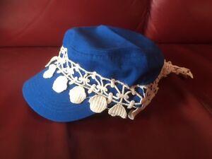 Cap Cuba/Military Style blau- mit Designborte