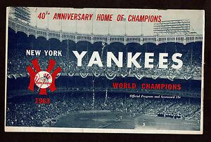 1963  NEW YORK YANKEES vs DETROIT TIGERS  baseball program  Maris HR