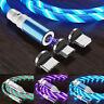 3 IN 1 Streamer LED Magnetisches USB Ladekabel Micro USB Typ-C Lightning 1M