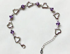 925 Silver Purple Crystal Bracelets