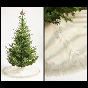 "Anthropologie Josie Faux Fur Tree Skirt Plush Animal Stripe 60"" Hygge Ivory Gray"