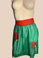 Vintage Green Sheer Short Apron Pom Pom Womens MCM Mid Century Christmas Holiday