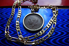 """English Hay Penny George V Coin Jewelry Nice 4mm, 24"""" FIGARO GOLD FILLED CHAIN"""