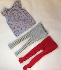 Bebé Niñas Azul 12-18 meses George T-Shirt Top + X2 Gris y Rojo Medias