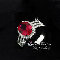 925 Sterling Silver AAA Grade CZ Oval Cut Split Band Side Stones Halo Ruby Ring