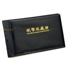 Banknote Currency Collection Album Paper Money Pocket Holders 40 Notes Black