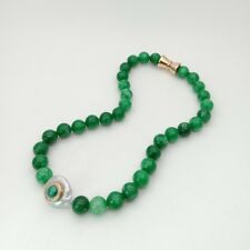 """18"""" Coin Pearl Green Jade CZ Pave Malachite Necklace"""