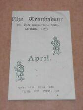 Bob & Carole Pegg/Martin Carthy/Tom Paxton 1965 Troubadour Concert Flyer