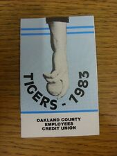1983 Fixture Card: Baseball - Detroit Tigers (Oakland County - single fold style