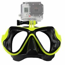 Yellow Diving Mask Scuba Snorkel Goggles Face Glasses Mount for GoProHero 3+4 21