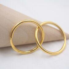 Pure 24K Yellow Gold 21mm Shiny Circle Hoop Earrings