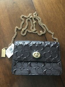 New W Tag COACH Shoulder Bag Chain Handle, Brown, Classic C Design, Small, Nice!