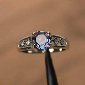 Octagon Cut Color Changing Alexandrite Art Deco Women's Engagement Wedding Rings
