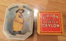 Bristol Ware Uneeda Biscuit And Lipton Tea Tin Pair, Nib