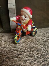Santa Claus on Bike Tricycle Christmas Vintage Japan tin Mechanical wind-up toy
