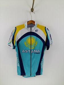 Astana Trek Cycling Jersey Full Zip Blue Man Size: M