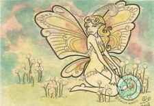 Buttercup Cartoon Fairy fae L/E GOLD Hand Embellished Fantasy ACEO art PRINT ejw