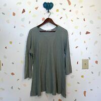 Cut Loose XL Cotton Linen Blend Sage Green Raw Hem 3/4 Slv Knit Tunic Shirt Top