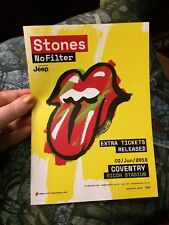 Rolling Stones 'No Filter' Tour Flyer Mini Poster - Coventry Gig. Mint Condition