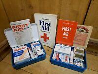 Vintage 1960s Lot 2 Johnson & Johnson First Aid Auto Kits & 1st Edt 1973 Book