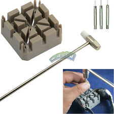 5pc Watch Band Link Repair Remover Tool Kit Hammer Punch Pins Watch Strap Holder