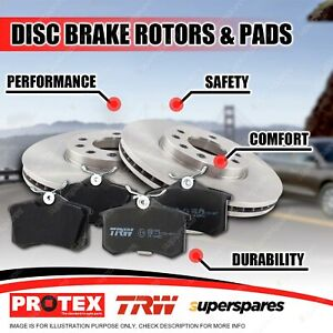 Protex Front Brake Rotors + TRW Pads for Ford Courier All 1981-1984