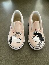 Vans X Peanuts Charlie Pink Girls Toddler Classic Slip On Shoes Size 6 Guc