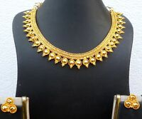 Gold Plated Light Weight Indian Wedding Necklace Earrings Bridal party Set k