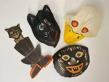 Vintage Halloween Painted Linen Duck Cat Mask Werewolf Paper Decor Lot