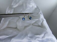 Ladies 14K Yellow Gold Lever Back 6mm Round London Blue Topaz Earrings