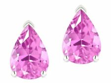 2 ct. Pear Pink Sapphire Stud Earrings in Sterling Silver ~ October Birthstone