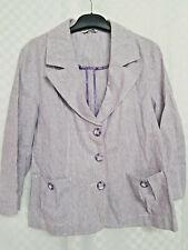 KLASS Single Breasted Jacket Size 16 Purple Striped Linen / Cotton Workwear