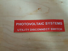 """solar label plastic placard 3.5x1"""" engraved Utility disconnect switch"""