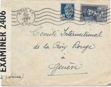 ALGERIEN ALGERIA 1943 Doppelzensur Brief nach Genf Zensurstelle Paris