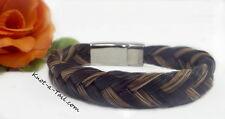 Exceptional hand-made magnetic clasp  horse hair bracelet brown/black horsehair