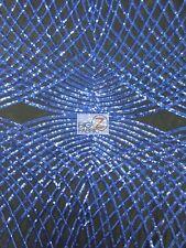 UNIQUE DIAMOND LACE SEQUIN DRESS FABRIC - Black/Royal Blue - PROM WEDDING GOWN
